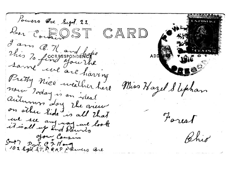 Postcard from Carl Karg, 102nd Spruce, Powers, Oregon