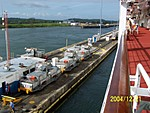 [Approaching Gatun Locks to leave the canal]