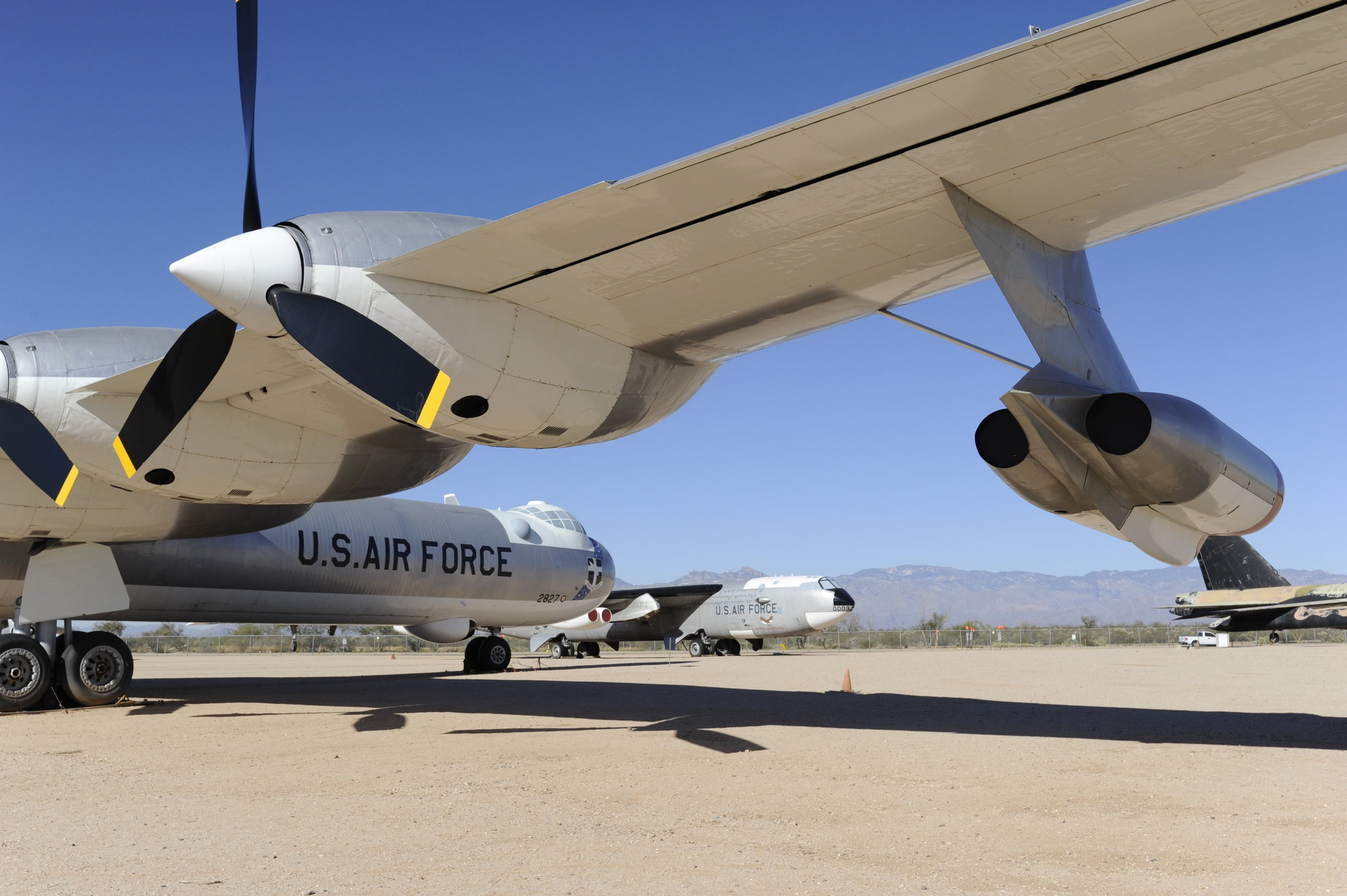 b36 bomber with b52's in the background, Pima Air and Space Museum, Tucson, Arizona