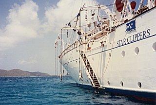 [Star Clipper at anchor]