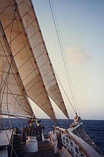 [The Star Clipper sailing along through the Caribbean]