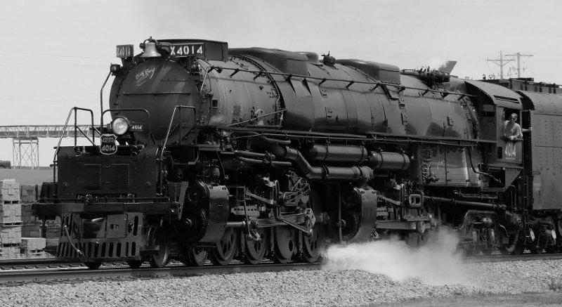 [UP 4014 Locomotive at Arcadia, Iowa (BW)]