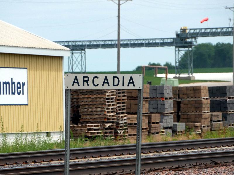 [Location Sign Along Tracks at Arcadia, Iowa]