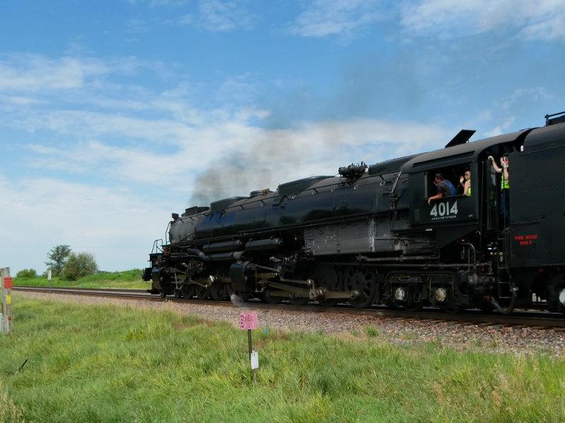 [Big Boy Locomotive 4014 Passing Us at Rural Cossing Near Ogden, Iowa]