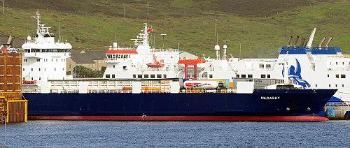 ['Hildasay' Ship in Lerwick Harbor (Ro-Ro ship)]