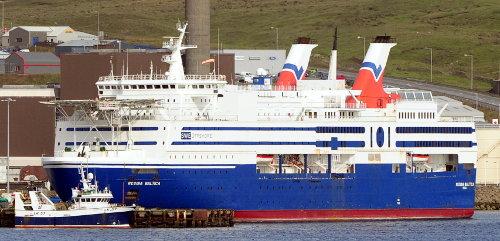 ['Regina Baltica' Ship in Lerwick Harbor (ferry/offshore supply ship)]