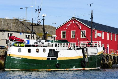 ['Stromness' Ship in Lerwick Harbor (fishing boat?)]