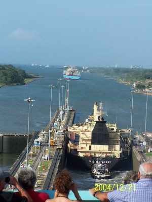 [Ships ahead leaving the lock and a view of the channel ahead]