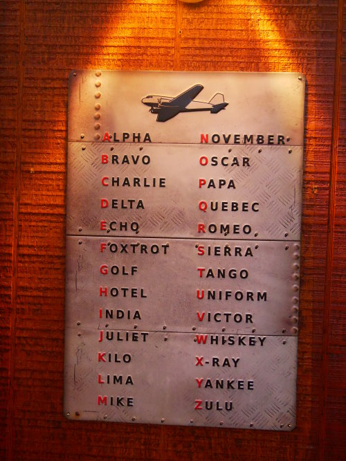 [One of the decorations in the bar/restaurant at the Pinal Airpark [modern fashioned phonetic alphabet]]